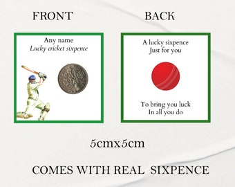Personalised lucky cricket sixpence novelty gift good luck token