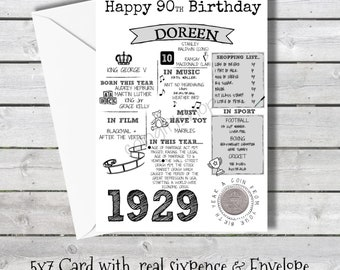 Personalised 90th Birthday Card With 1929 Sixpence In Britain
