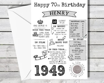 Personalised 70th Birthday Card With 1949 Sixpence In Britain