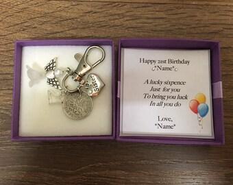 Personalised 21st Birthday Gift Lucky Sixpence Keyring Handbag Charm Choice Of Charms