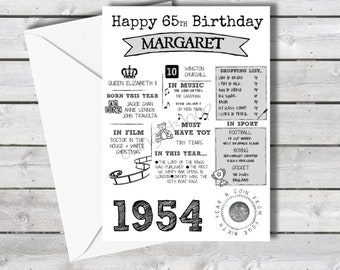 Personalised 65th Birthday Card With 1954 Sixpence In Britain