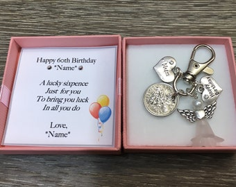 Personalised 60th Birthday Gift Lucky Sixpence Keyring Handbag Charm 1959
