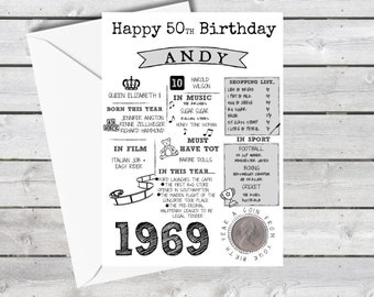 Personalised 50th Birthday Card With 1969 Old Five Pence In Britain