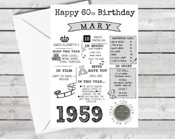 Personalised 60th Birthday Card With 1959 Sixpence In Britain