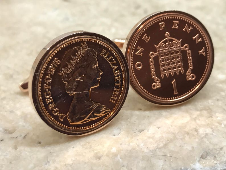 1979 one penny coin cufflinks - 40th birthday gift - lucky penny - rose  gold plated