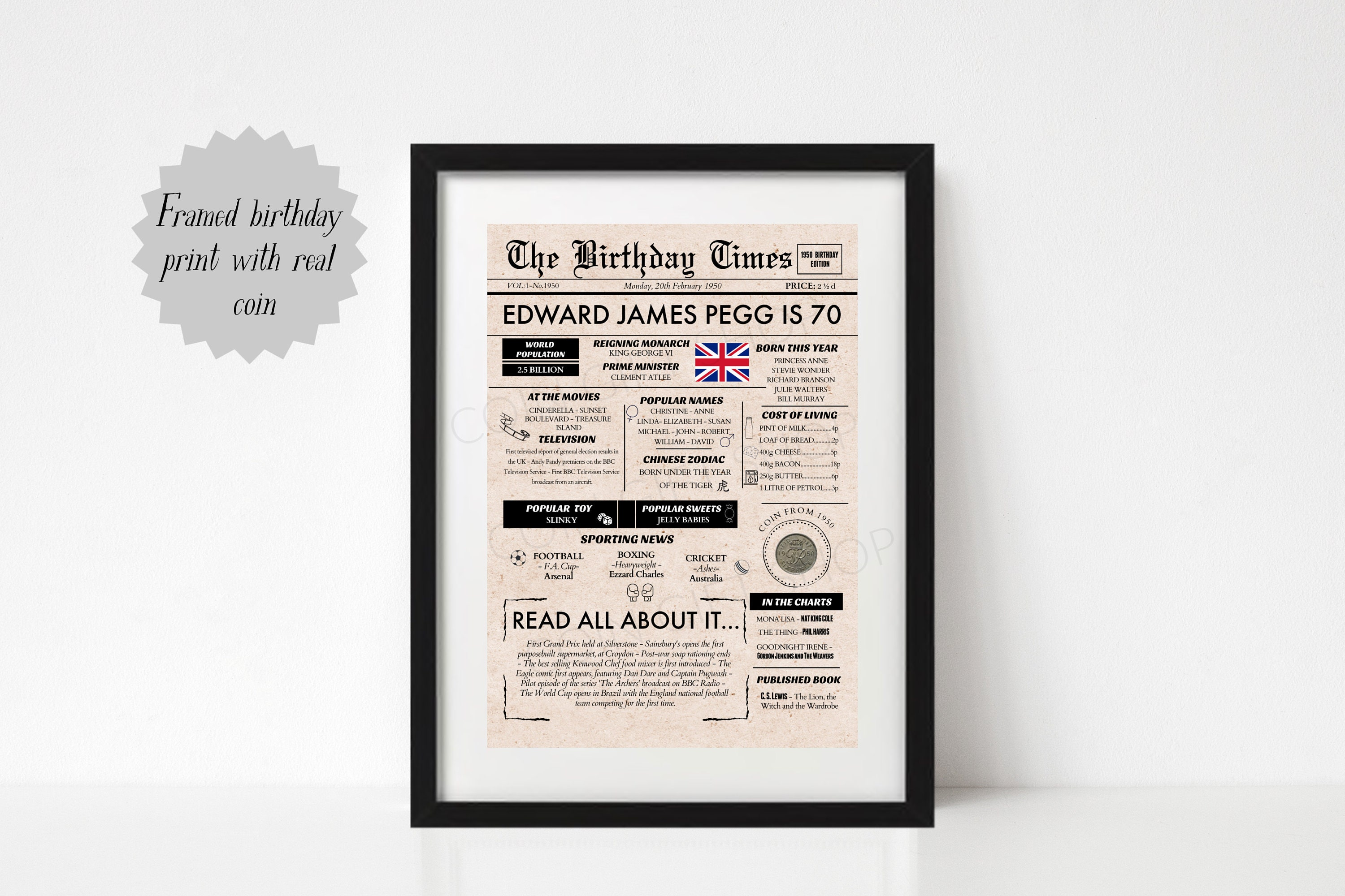 PERSONALISED Happy Birthday Framed Coin Gift Set choice of years 1947-1967