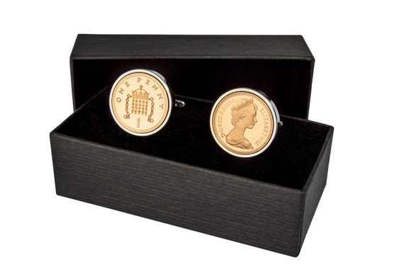 1989 one penny coin cufflinks - 30th birthday gift - SILVER PLATED SURROUND