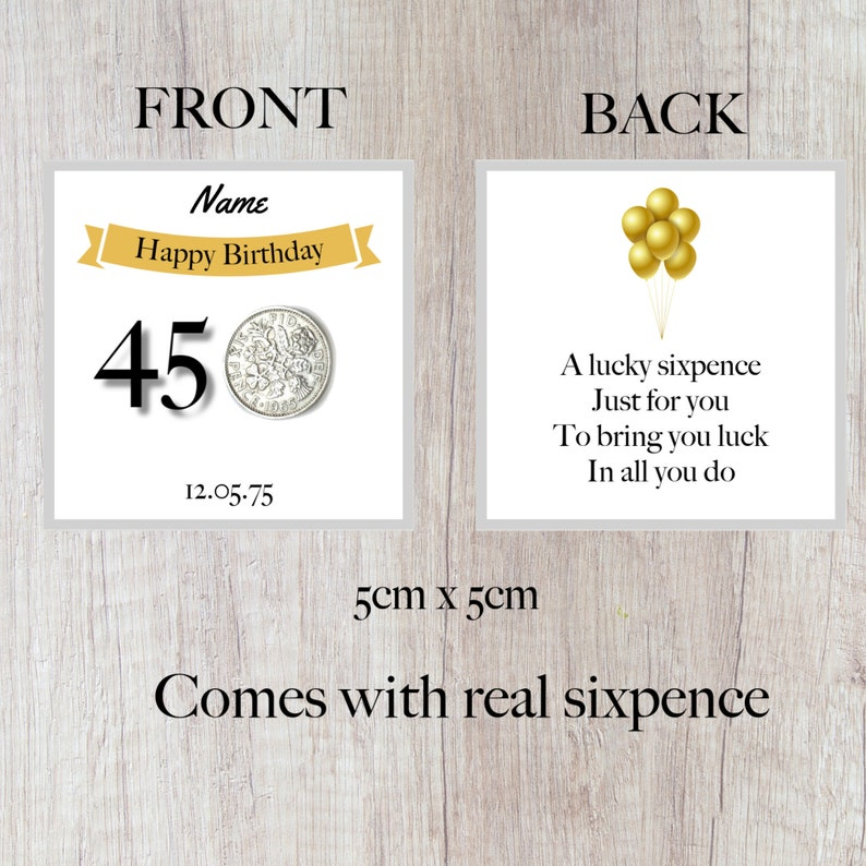gift personalised lucky sixpence 45th birthday token banner design