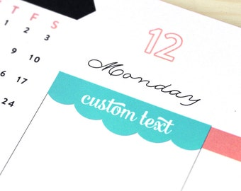 Custom or Blank Headers, 24 scalloped planner header stickers, fits Erin Condren vertical or Classic Happy Planner, eclp 2018 colors rainbow
