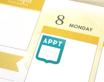 Appointment Reminder Planner Stickers - 24 small appointment flags, assorted colors for Erin Condren Life Planner, eclp colors, neutral