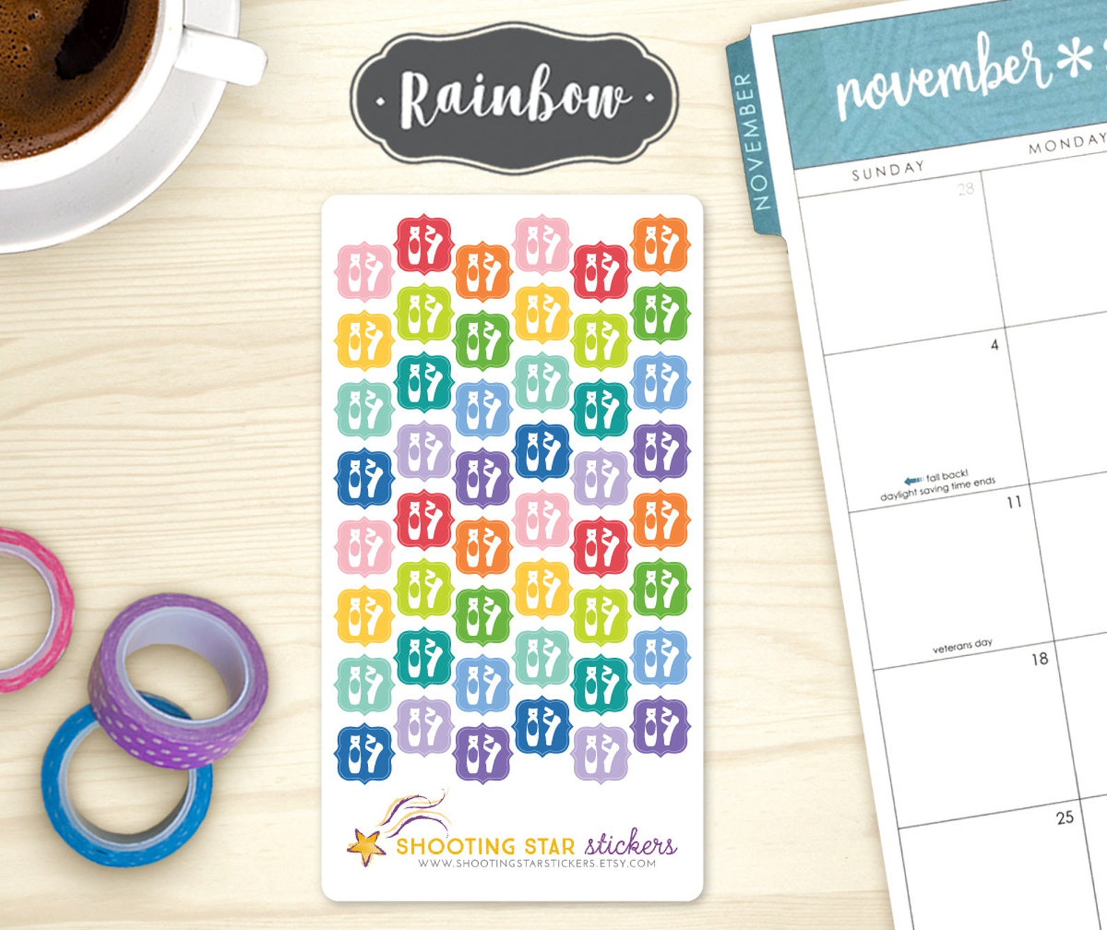 dance planner stickers - ballet shoes icons, 48 dance class reminder stickers, ballerina, lessons, rehearsal, show tracking, ecl