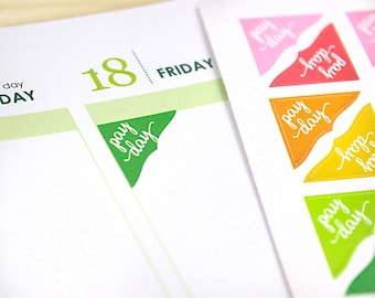 48 Pay Day Corner Stickers, colorful planner reminder stickers, 2021 ECLP colors, green, neutral or assorted colors, payday, finance tracker