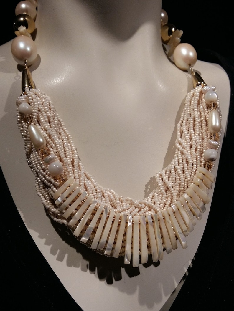 glass seed bead and crystal Simply chic!!! Big bold and chunky choker set with mother of pearl