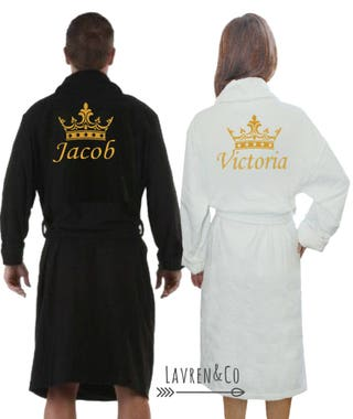 Personalised dressing gown, bath robe, customised robe, His and hers robes, wedding gift, embroidered name, couples robes, Personalised robe