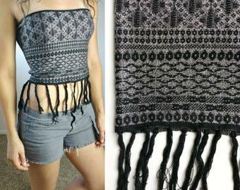 066a287105 Aztec Black + Grey Fringed Cropped Tube Top   Vintage 90s Tube Top Size  Medium Festival Shirt