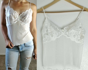 Vintage 80s White Lace Sheer Tank Size// Vintage Lingerie Size Small White Lace Blouse Boho Chic Festival Fashion