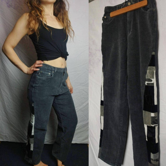 Upcycled Womens 90s Corduroy Patchwork  Pants Size