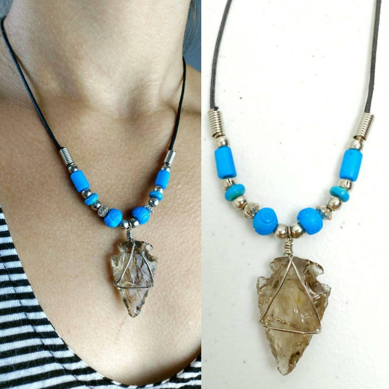 3a7ee28e5d Boho Smoky Crystal Shark Tooth Beaded Hemp Necklace   Vintage 90s Pendant  Crysta... Boho Smoky Crystal Shark Tooth Beaded Hemp Necklace   Vintage 90s  ...