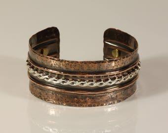 Cuff, Bracelet, copper, brass, sterling silver