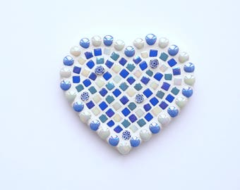 Blue mosaic heart, Mosaic heart, Mosaic wall art, Wall hanging, Mosaic, Anniversary present, Gift for her, Birthday present, Love You gift
