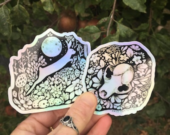 Reflective silver sticker set of 2, skull and flowers sticker, bunny and moon sticker, rabbit And mushrooms reflective sticker