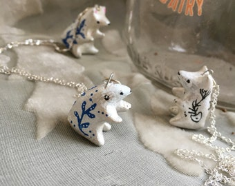 Tiny lucky bears, bear necklace, hand sculpted paper clay jewelry, miniatures, animal jewelry