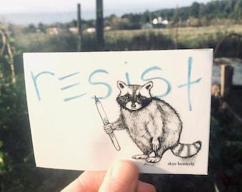 resist raccoon vinyl sticker, nature punk sticker