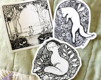 Fox themed sticker pack, set of 3 black and white fox stickers, cute animal ink art stickers, nature sticker set
