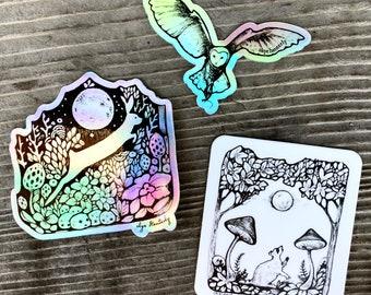 Nighttime sticker 3 pack, nocturnal animals sticker set, moon stickers