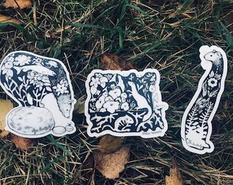 River creatures sticker pack Black and nature art sticker, bear sticker, weasel stickers, salmon sticker, circle sticker pnw nature art pack
