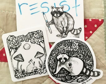 Raccoon themed sticker pack, set of 3 black and white raccoon art stickers, black and white ink drawing raccoon stickers