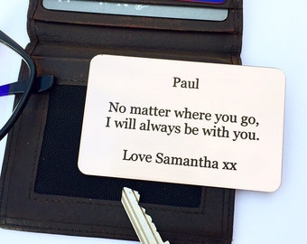 Wallet Insert Card, Personalised Gift, Boyfriend Gift, Christmas Gift For Him, Wedding Gift