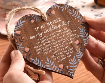 Mother of the Bride Gift - Hanging Wooden Heart Mum Gift - On my wedding day - Wood Keepsake - Hen Party - Gift for mum - AM17