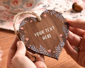 YOUR TEXT HERE Wooden Heart - Hanging Wooden Heart Mum Gift - Sentimental - Personalised Custom - Pocket hug - Gift for friend - AM95