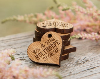 Wooden Wedding Hearts, Table Decor, Personalised Mr & Mrs Love, Heart Wedding Table Decoration, Custom Favours, Rustic Wood Foliage,  14TD