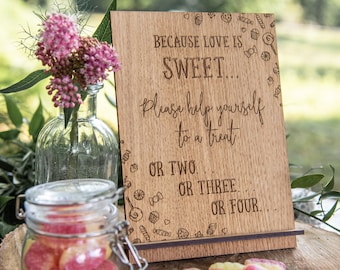 Love is sweet, love is sweet sign, wedding sign, dessert table sign, wedding, wedding decor, wedding signs, take a treat, candy bar sign 5WS
