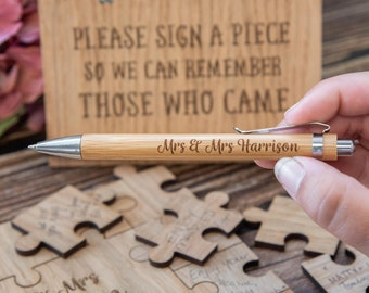 Wooden wedding guest book pen for guestbook   dropbox or puzzle