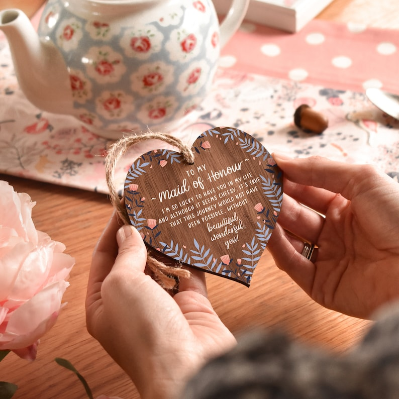 Maid of Honor Hanging Wooden Heart