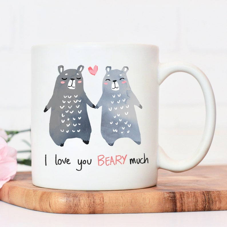 valentines day gift of a cute mug with bears on it saying I love you beary much