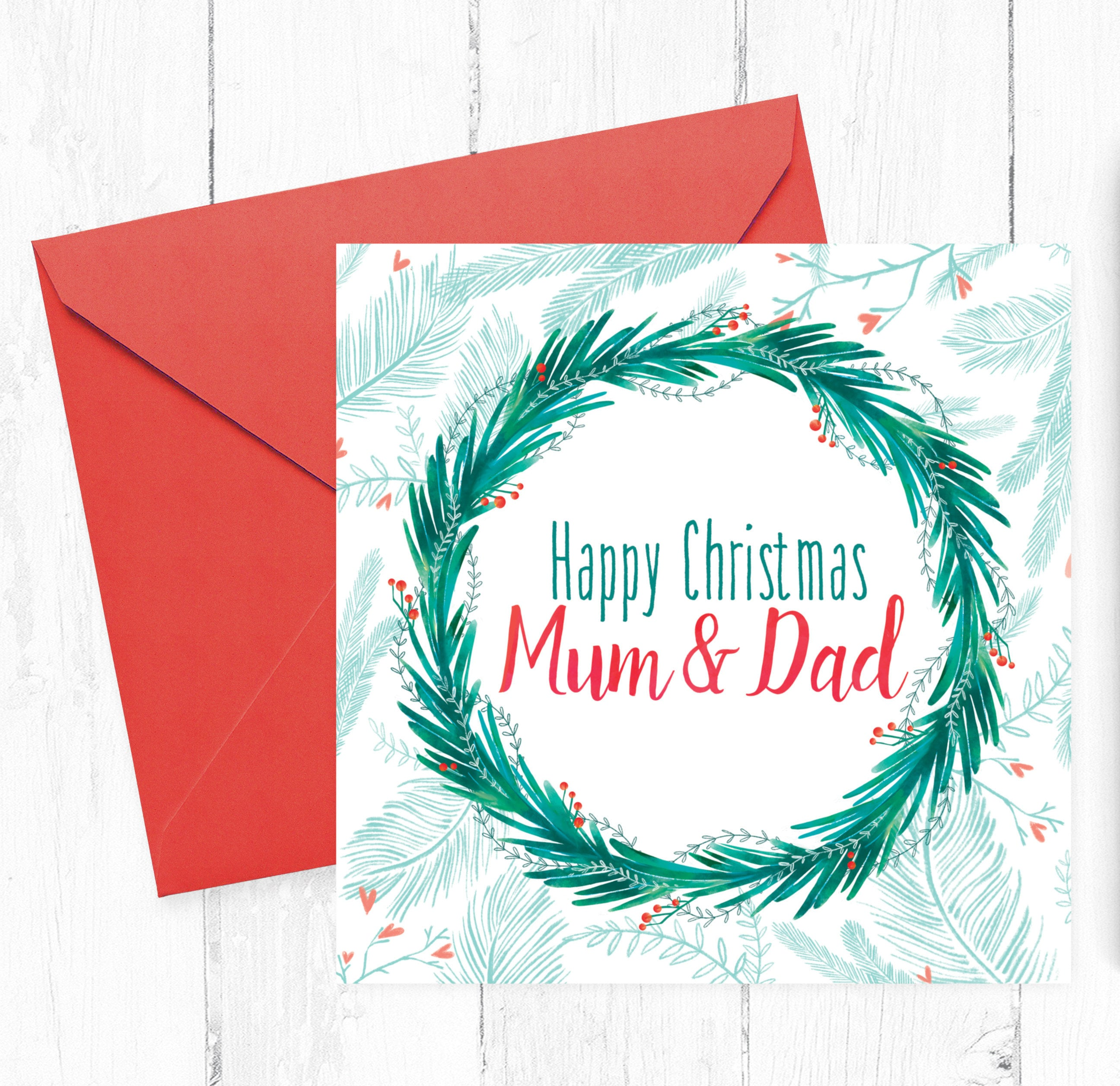 Mum and Dad Christmas Card Christmas cards for Mum and Dad | Etsy
