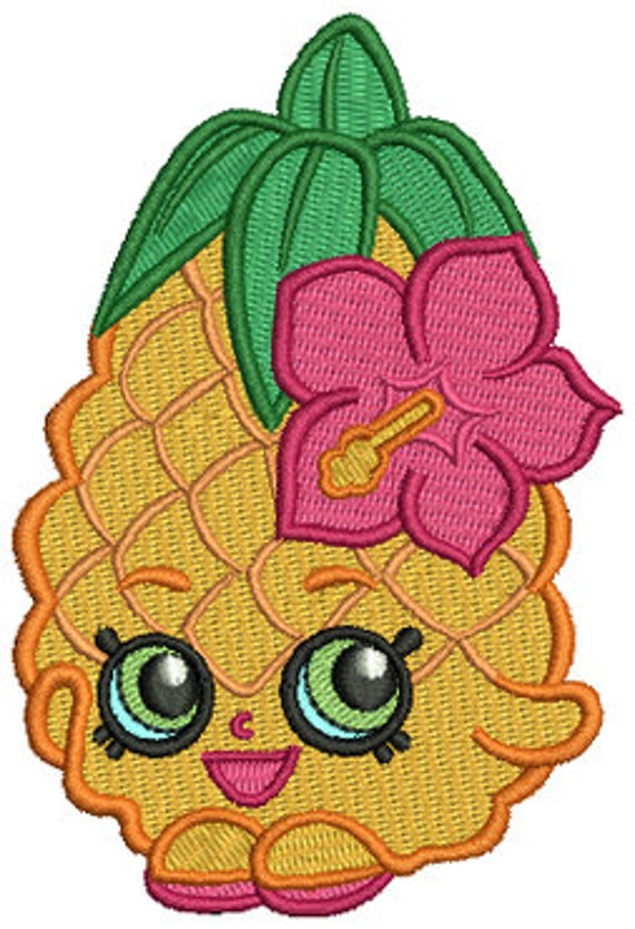 Delightful Pineapple Crush Shopkins Inspired PES Embroidery Machine