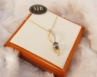 Tanzanite Pendant, 18k Tanzanite and Diamond Pendant, 18k White Gold & 18k Yellow Gold Tanzanite Pendant, December Birthstone Jewelry, #P241