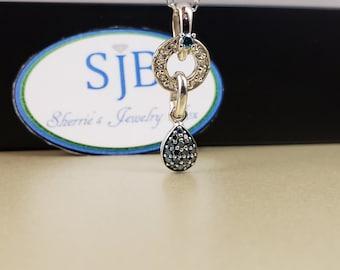 Diamond Pendants, Blue Diamonds, 14k White Gold Blue Diamond Dangle Pendant, 14k Blue & White Diamond Pendant, Blue Diamond Jewelry, #P1088