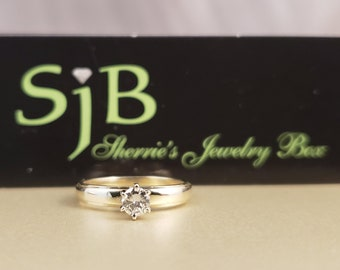 Diamond Solitaire, .19ct Round Diamond Engagement Ring, .19ct single Diamond, Diamond Wedding Ring, Diamond engagement Ring, #C610 Size 3.5