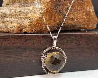 Whiskey Quartz Pendant, 14k Whiskey Quartz Pendant with .25ct in Brown Diamonds, 14k White gold Whiskey Quartz & Diamond Halo Pendant, #P987