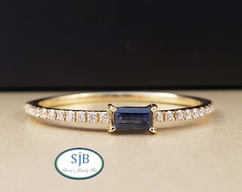 Sapphire Rings, 14k Yellow Gold Blue Sapphire & Diamond Ring, Sapphire Baguette Ring, Stackable Bands, September Birthstone, Size 6.5, #R830
