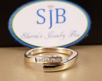 Natural Diamond. Genuine Diamond, Band, Bypass Design, 14k White Gold, .04 carat in Diamond accents, April Birthstones, Size 7.25 #R199
