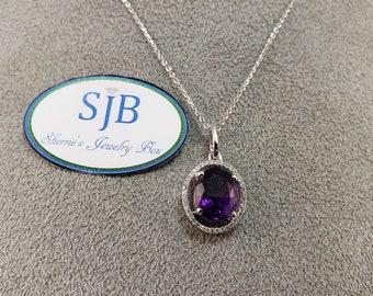 Amethyst Pendants, Purple Amethyst and Diamond Pendant, 14k White Gold Amethyst & Diamond Halo Pendant, February Birthstone Jewelry, #P951