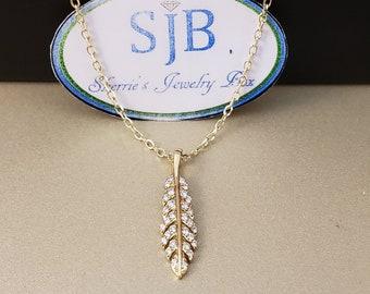 Diamond Pendants, Diamond Feather Pendant, 14k Yellow Gold Diamond Feather Pendant, Diamond Feather Charms, April Birthstone Jewelry, #1102