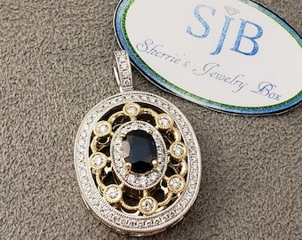 Sapphire Pendant, 14k Yellow Gold Blue Sapphire and Diamond Pendant, Vintage Inspired Designer Jewelry, September Birthstone Jewelry, #P1107